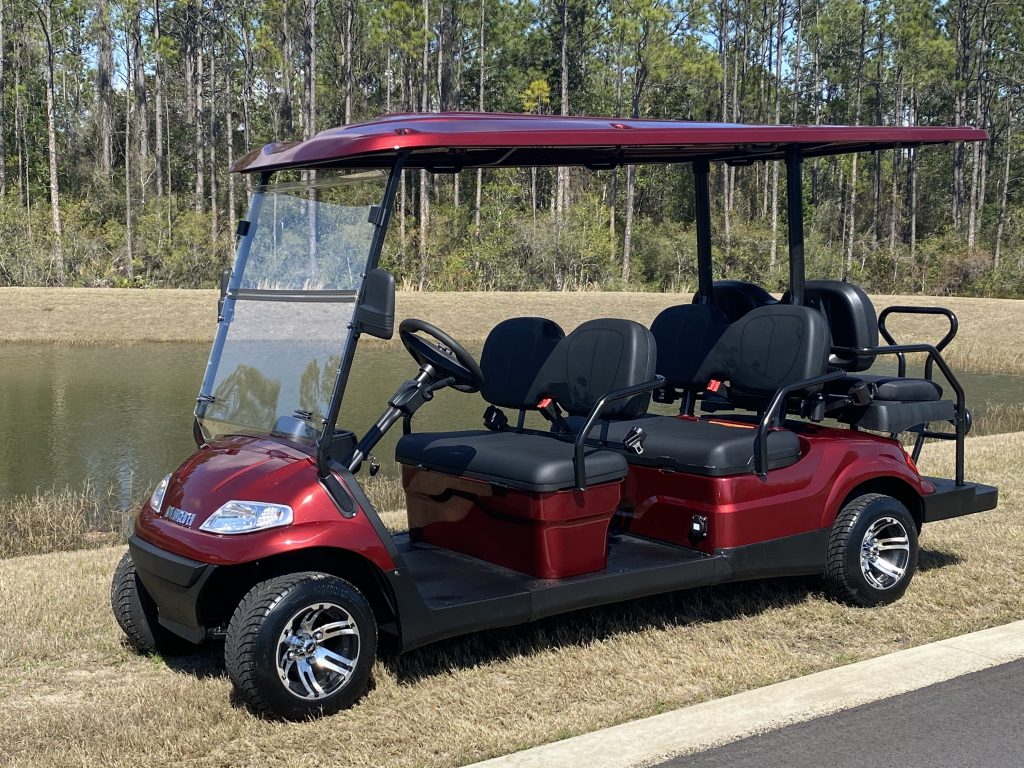 2021 Advanced EV 6 Passenger Burgundy Street Legal Golf Cart Side View