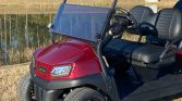 Custom CLub Car Ruby Red 6 Passenger Street Legal Golf Cart Front View Close UP