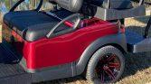 Custom CLub Car Ruby Red 6 Passenger Street Legal Golf Cart Rear Seat and Wheels