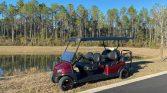 Custom CLub Car Ruby Red 6 Passenger Street Legal Golf Cart Wide View